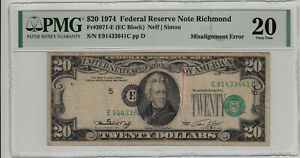 Fr 2071-E 1974 $20 Federal Reserve Note Misalignment Error PMG Very Fine 20