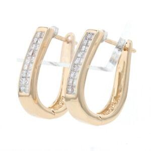 Yellow Gold Diamond Cluster Hoop Earrings - 14k Princess .50ctw Tapered Pierced