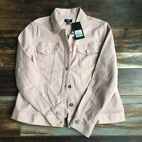 Jones New York Blush Jean Jacket Size Large Rose Smoke Denim Mauve New