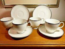 4-Noritake AEGEAN MIST Cups & Saucers Porcelain 7983 White-Gray-Platinum Band
