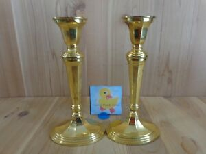 """STIFFEL CANDLESTICK HOLDER Set of 2 Solid Brass 10"""" H Oval Base Tapered Candle"""