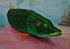 Grand Tableau peinture toile : peche brochet - pike fishing canvas painting