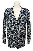 Ann Taylor Loft Cardigan Sweater Women Size XSP White Gray Black Floral V Neck
