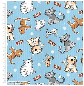 """Fabric Friendly Cats 100% Cotton 110cm (44"""") wide by Craft Cotton Blue"""