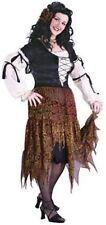 Gypsy Rose Costume 3 Pc Blk & Iridescent Rd/Gd Peasant Dress Slip & Flower Plus
