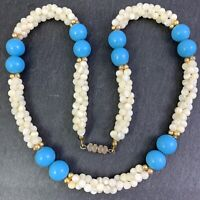 VINTAGE BEADED NECKLACE BLUE GLASS MOTHER OF PEARL SHELL BEADS