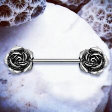 Rosa | Flower Nipple Bar Silver Nipple Rings Nipple Piercing Rose Nipple Bars UK
