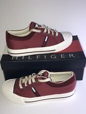 Vintage Tommy Hilfiger Women's HAVARD RED Size 8 M White Flag Logo Sneakers