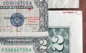 MATCHING Serial $1 Silver Cert & $2 Dollar Bill CUT + PRINT ERRORS ON BOTH NOTES