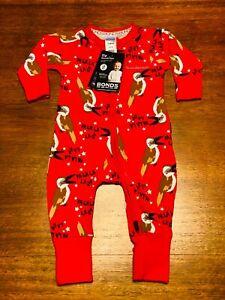 Bonds Baby Red Kookaburra Falalalala Christmas Zip Wondersuit Size 000 BNWT