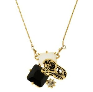 Les Nereides Dinosaur Skull Necklace 14 ct Plated Necklace Fossil Stone