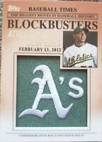 YOENIS CESPEDES 2012 Topps Update Oakland A's Commemorative Hat LOGO PATCH Relic