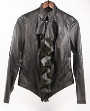 PASHA VENETO Butter Soft Black Leather Ruffled Unique Chic Jacket Coat Women S