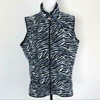 Three Hearts Women's Zebra Print Fleece Vest Full Zip Up Black & White Size M