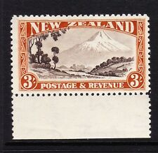 NEW ZEALAND 1936-42 3/- CHOCOLATE & YELLOW-BROWN PERF 12½ SG 590b MINT.