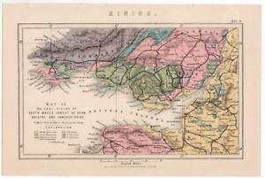 Antique Map Coal Fields South Wales Forest of Dean etc. William Mackenzie 1885