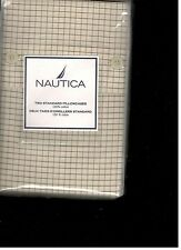 Nautica Trinidad Check Standard Pillowcases Beige Brown New 1st Quality