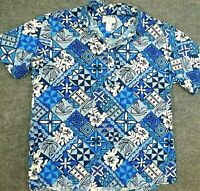 Vtg KOLEKOLE Hawaiian Shirt MADE IN USA S/S Polo Golf Floral White Blue Men's XL