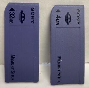 Pair Of Sony Genuine Memory Sticks 32MB MSA-32A & 4MB MSA-4A Camera Memory Card