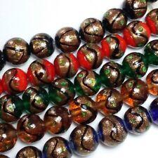 5 un. Assorted Brillo del oro Perlas De Murano Verde Rojo Azul Topacio Negro N070-M