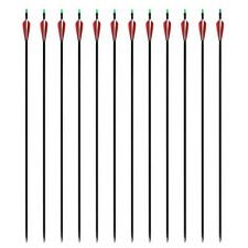 """12pcs 30"""" Carbon Arrows Compound Bow Arrow Archery Hunting Screwed Tips and Nock"""