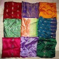 LOT BANARSI Vintage Sari Fabrics REMNANT 12 pcs 5 inch SQUARES BANARASI HANDCUT