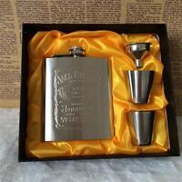 Jack Daniels 7oz Whisky Wein Bier Flask Geschenkset Edelstahl Flachmann Flasche