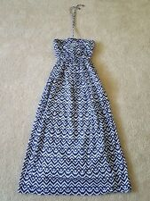 Gap Women Blue White Zig Zag Ikat Print Pockets Lined Halter Maxi Dress XS