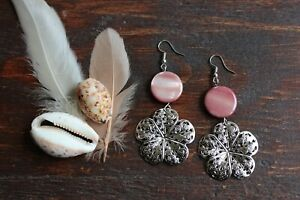 Beautiful Handmade Pink Red Shell Bead & Silver Tibetan Flower Drop Earrings