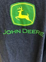 Hanes Mens Size L TShirt John Deere Short Sleeve Gray Shirt Green Yellow Logo