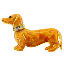 Fantasyard Crystal Dachshund Dog Pin Brooch