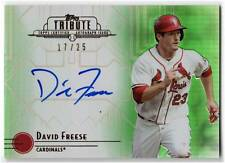 David Freese 2014 Topps Tribute On Card AUTOGRAPH Auto Green REFRACTOR #'d 17/25