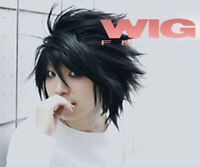 Death Note Black Short Stylish Anime Cosplay Wig + Gift Wigs Mesh Cap