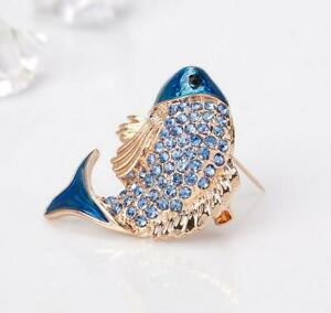 Small Size Blue Crystal Fish Woman Brooch Pin Rhinestone Animal Gift