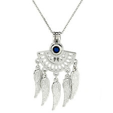 K1012 Silver Alloy Fan Shaped Bohemian Style Beads Cage Locket Pendant Chain