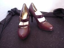 RMK HIGH HEEL STRAP LEATHER BURGANDY SHOES NEW