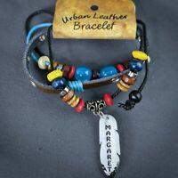 Margaret Wrap Bracelet Leather Personalized Name Boho Blue Red Yellow Beads