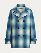 Women's Polo Ralph Lauren Blue Plaid Wool Peacoat Jacket M New $698