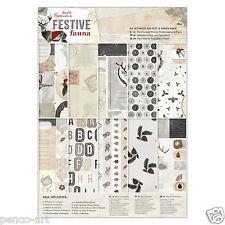 Papermania Ultimate A4 paper 48 sheet part die cut 160gm Christmas Festive Fauna