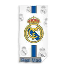 REAL MADRID CF BLANC SERVIETTE BAIN PLAGE FOOTBALL LOGO CLUB 100% coton grand