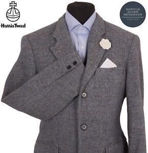 Harris Tweed Jacket Blazer Size 40R Windowpane Check Hunting Hacking Sports Blue