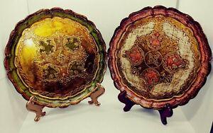 """Legno Piattino Grande Wooden Plate Plaque Made in Italy 9.5"""" Set of 2"""