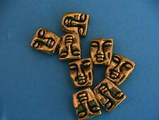 Lot of 4 TIBET GOLD ART FACES beads/charms~dolls~steampunk~altered art~jewelry