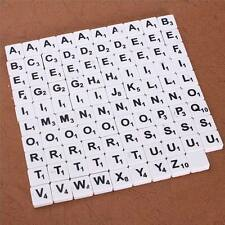 200 PLASTIC SCRABBLE TILES WHITE BLACK LETTERS NUMBERS FOR CRAFTS ALPHABETS PLAY