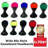 Wide Sweatband Style Knitted Headband 80s Disco Winter Sports Skiing Ear Warmer