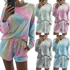 Womens Tie Dye Gradient Top T-shirt+Shorts Set Lounge Wear Tracksuit Casual Suit