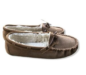 Minnetonka Leather Moccasins Shoes Women's Size 11 Chestnut Suede Slippers T6