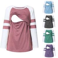 Autumn Women Maternity Casual Long Sleeve Tops Splice Nursing Blouse T Shirt Tee