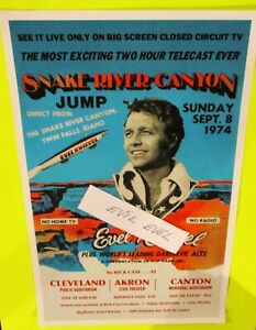 EVEL KNIEVEL Snake River Canyon Jump 3 City PROMO POSTER on X-2 Sky Cycle Evil