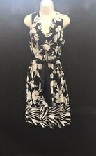 New Wallis Black Floral Belted  Wrap Style Tea Dress U.K. 14 CU56